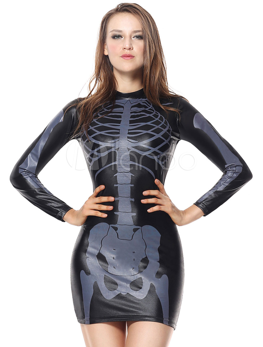 Buy Skeleton Costume Halloween Black Women Printed Tight Long Sleeve Short Dress Scary Costume for $17.09 in Milanoo store
