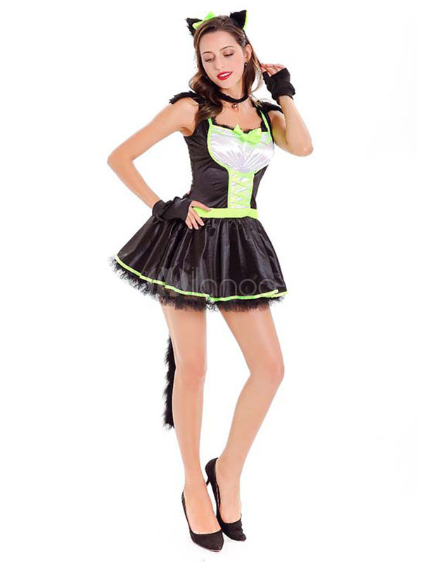 Disfraz de gato negro de Halloween traje corto para mujer Milanoocom