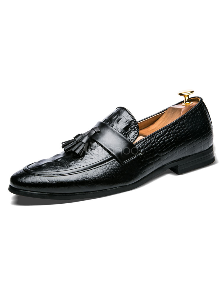 Buy Men Loafers Burgundy Round Toe Crocodile Slip On Shoes Casual Business Shoes for $40.49 in Milanoo store