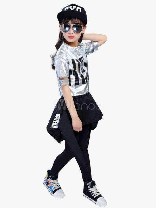 Hip Hop Dance Costume Kids Little Girls Black Skirt And Top Dancing  Outfit-No. 265b94cf924