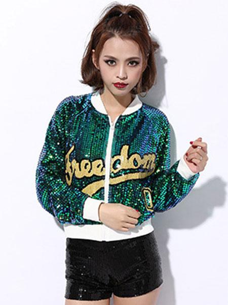 bdd465357f69 ... Hip Hop Dance Sequin Costume Red Glitter Sexy Women Dancing Jacket Top- No.2 ...