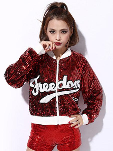 fef2a5beec06 Hip Hop Dance Sequin Costume Red Glitter Sexy Women Dancing Jacket Top-No.1  ...