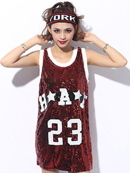 57f28575d785 Sexy Hip Hop Dance Sequin Costume Red Women Glitter Dancing Clothes-No.1 ...