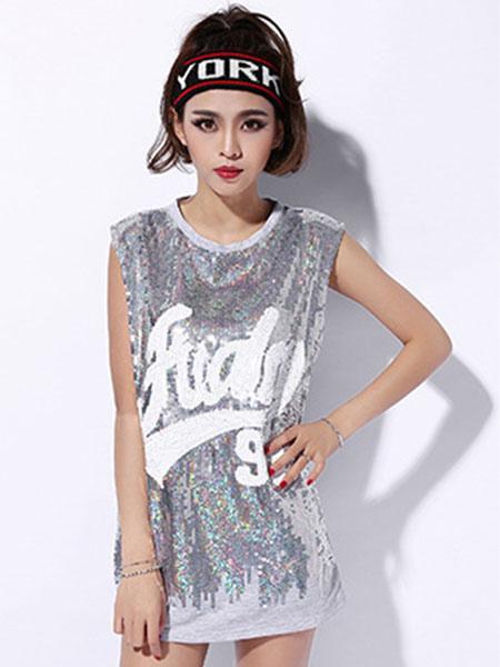 de30f58366a3 ... Hip Hop Dance Costume Sequin Silver Women Glitter Girls Dancing Top-No.2  ...