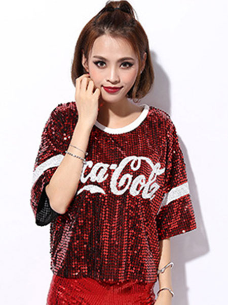 cde3cf9c1d68 Hip Hop Dance Sequin Costume Red Women Glitter Sequin T Shirt Top Dancing  Clothes-No ...