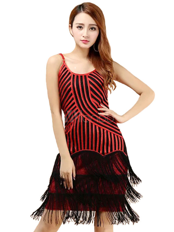 Buy Latin Dance Costume Women Red Tassels Dress for $32.39 in Milanoo store