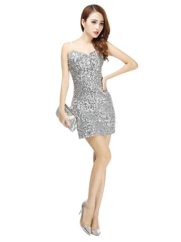 Buy Latin Dance Costume Women Sequin Glitter Straps Sheath Latin Dancing Dresses for $26.99 in Milanoo store
