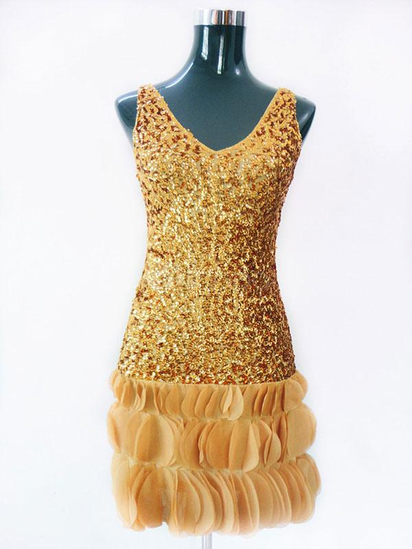 Buy Latin Dance Costume Women Sequin Gold Mini Latin Dancing Dress for $32.39 in Milanoo store