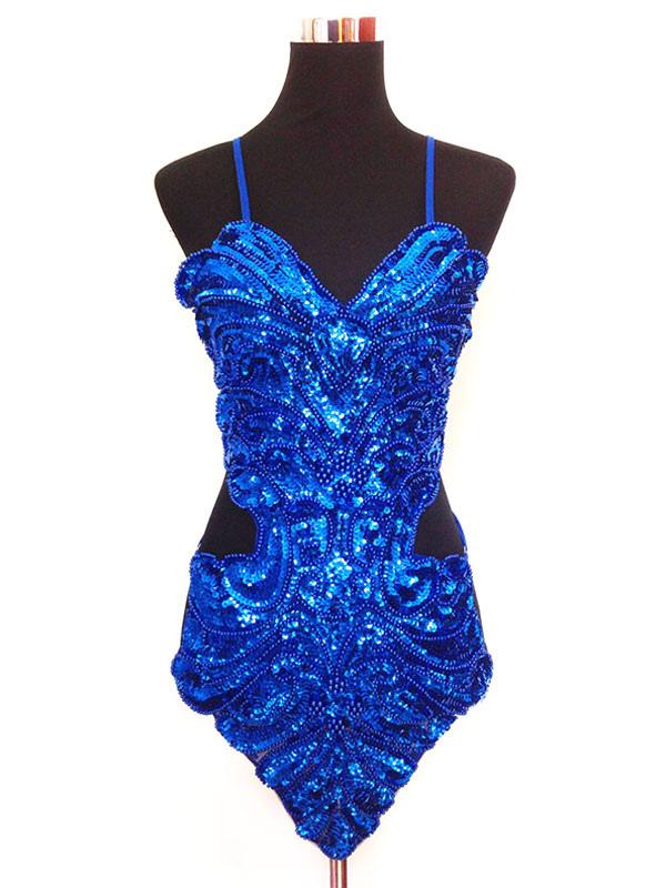 Buy Latin Dance Costume Women Glitter Royal Blue Sequin Latin Dancing Dresses for $25.19 in Milanoo store