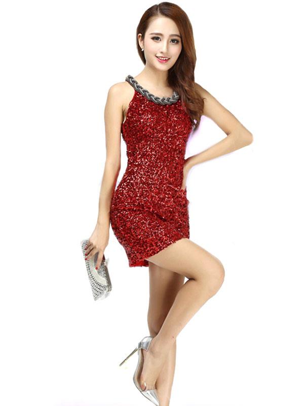 Buy Latin Dance Costume Women Red Sequin Glitter Sheath Latin Dancing Dresses for $34.19 in Milanoo store