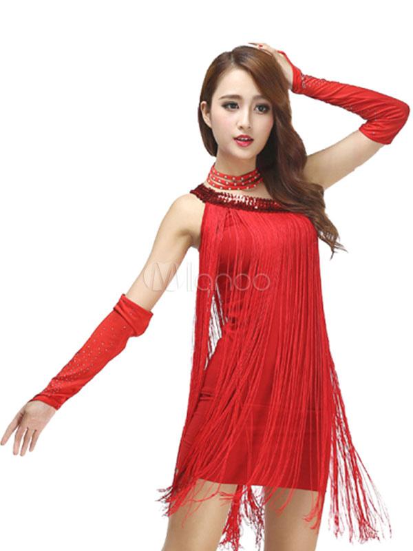 d1b68c280c60 ... Costumi da ballo latino americano interpretazione per adulti monocolore  ballerino Latino abito lycra spandex -No ...