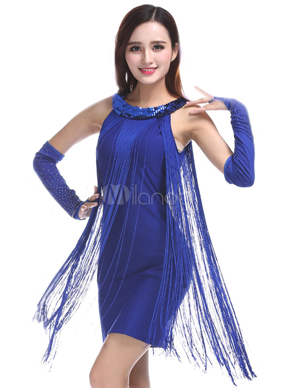 Buy Latin Dance Costume Women Blue Tassels Latin Dancing Dress for $26.09 in Milanoo store