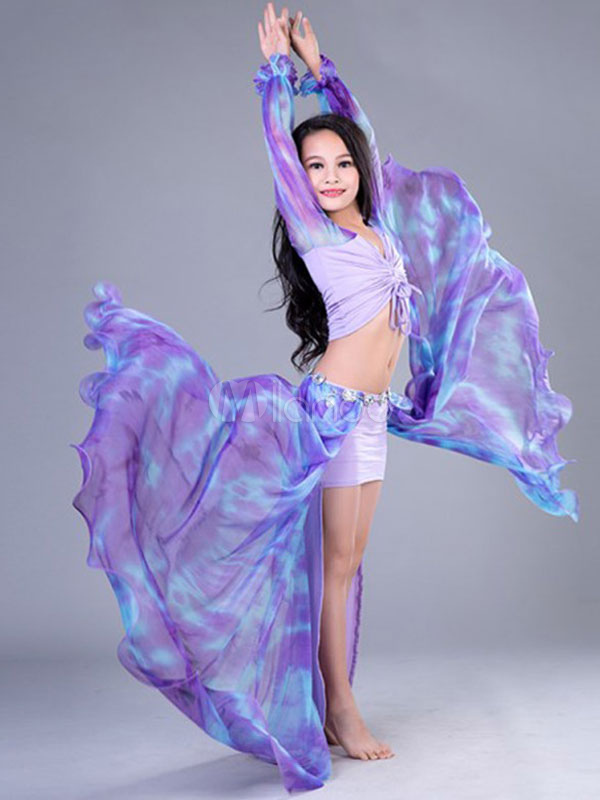 Buy Belly Dance Dresses Costume Purple Kids Printed Split Long Skirt And Top Bollywood Dancing Clothes for $72.89 in Milanoo store