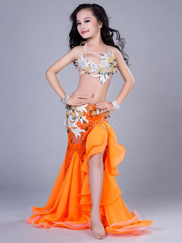 Buy Belly Dance Dresses Costume Kids Orange Long Split Skirt And Top Dancing Clothes for $196.19 in Milanoo store