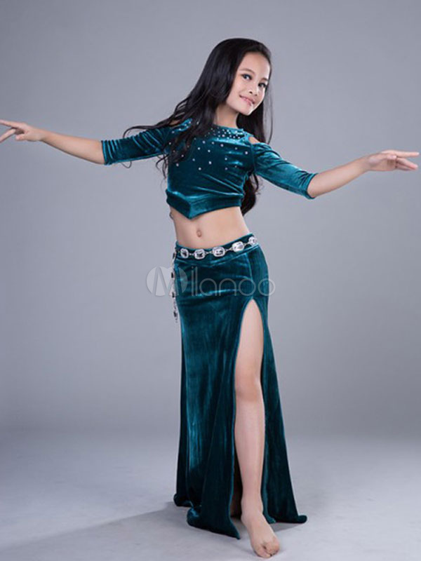 cc88f1ae00 Belly Dance Dresses Costume Velvet Kids Split Long Skirt And Top Girls  Dancing Clothes-No ...