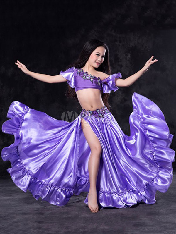 Buy Belly Dance Dresses Costume Kids Purple Long Skirt And Top Girls Dancing Clothing for $116.99 in Milanoo store