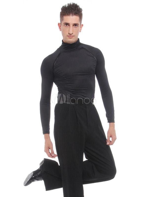 3d4402b1c Ballroom Dance Costume Top Men Black Long Sleeve High Collar T Shirt Practice  Dancing Clothes- ...