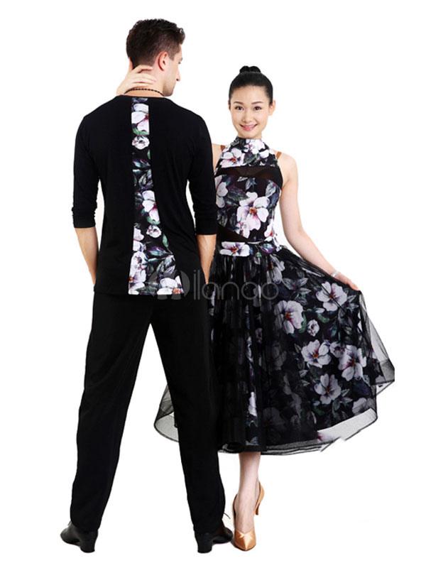 d3df3374d ... Ballroom Dance Top Costume Printed Men Black Practice Dancing Clothing-No.4  ...