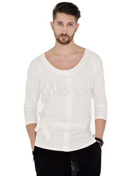 eceb1c59e98f Ballroom Dance Costume Top Men White T Shirt Top Practice Dancing Clothes-No.1  ...