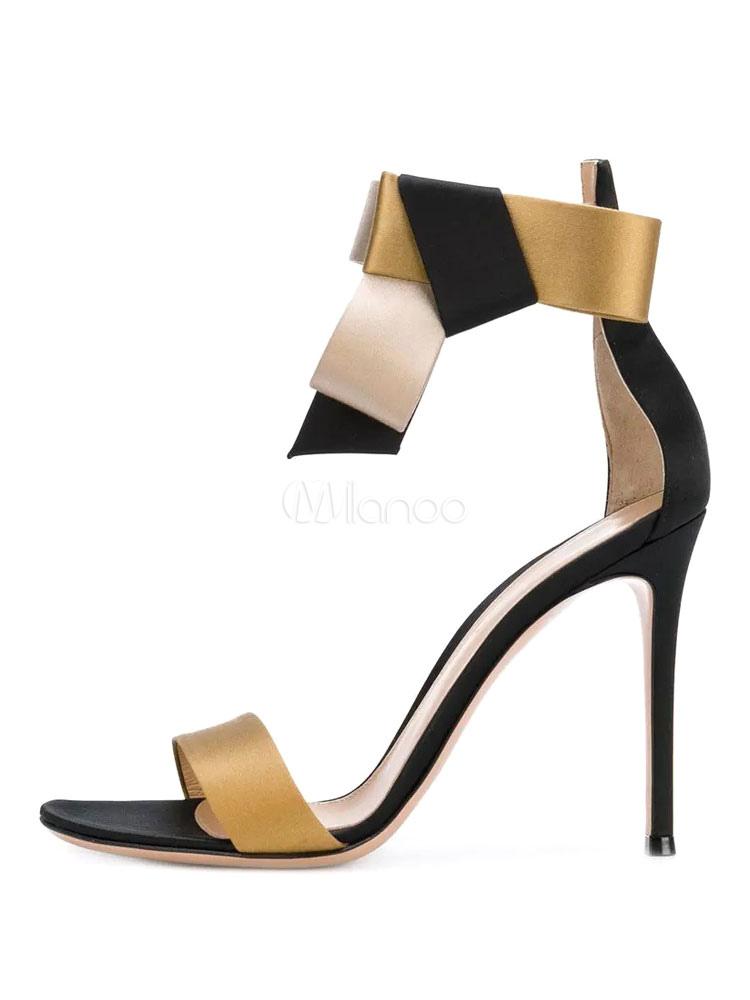 67d6de53bde ... Women Gold Sandals High Heel Prom Shoes Satin Open Toe Bow Ankle Strap  Evening Shoes- ...
