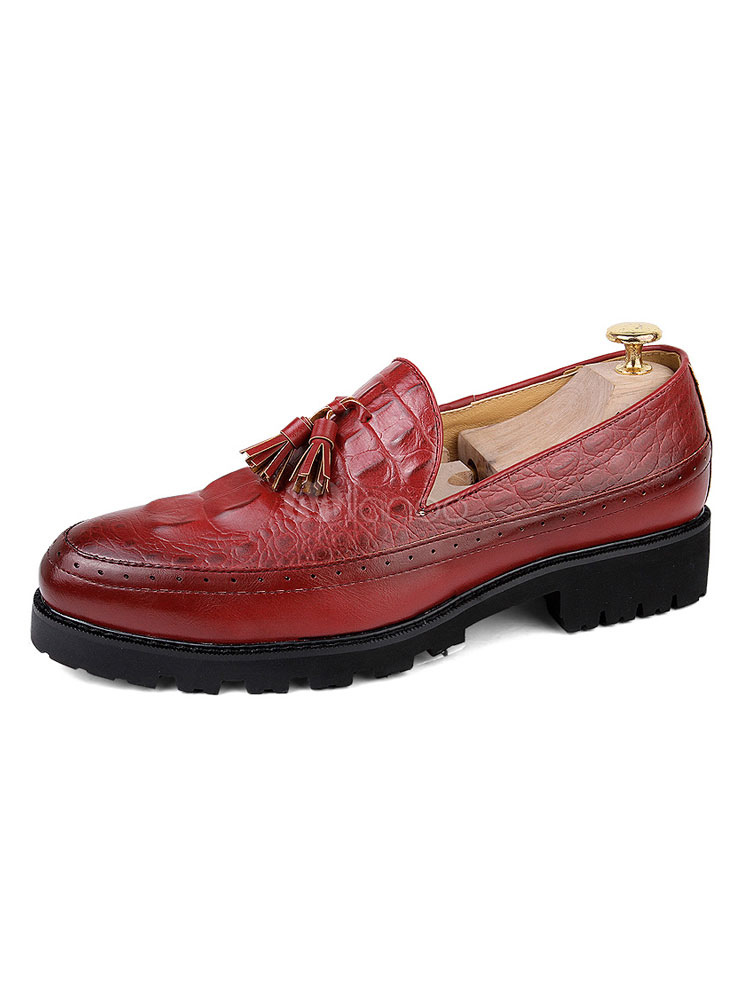 Burgundy Men Loafers Round Toe Slip On Shoes Casual Business Shoes