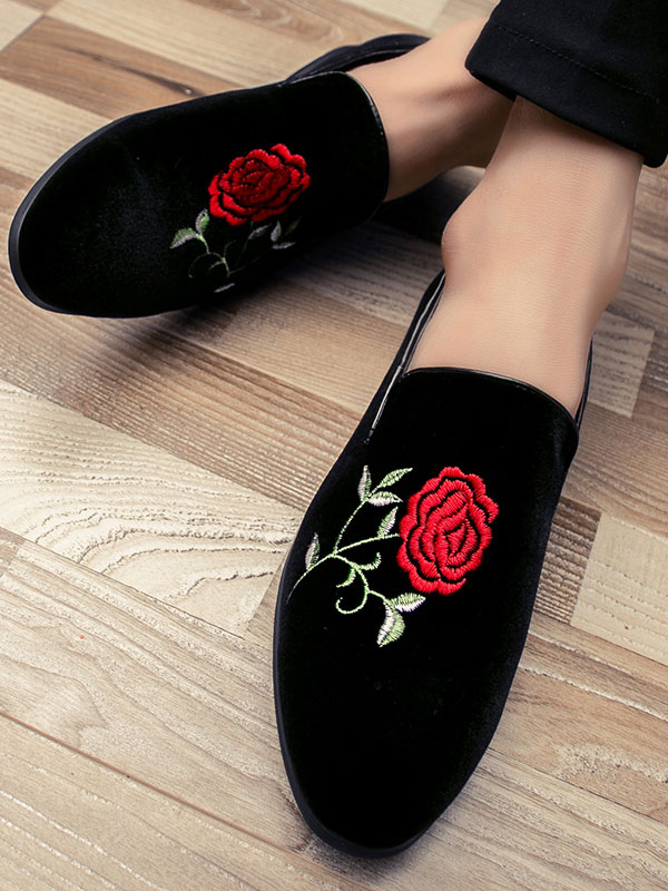 ... Black Loafers Men Shoes Round Toe Rose Embroidered Slip On Shoes-No.5