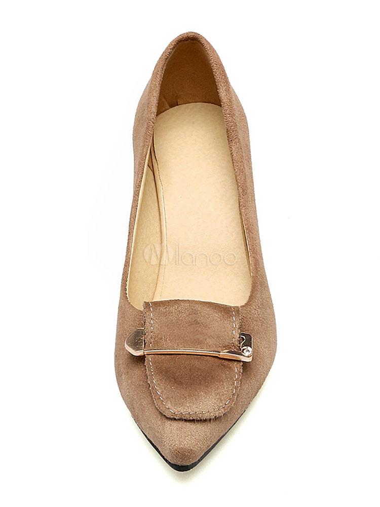 Zapatos de tacón alto de color marrón con punta de gamuza con detalle de metal en las bombas para mujeres sC1gYd3UJv