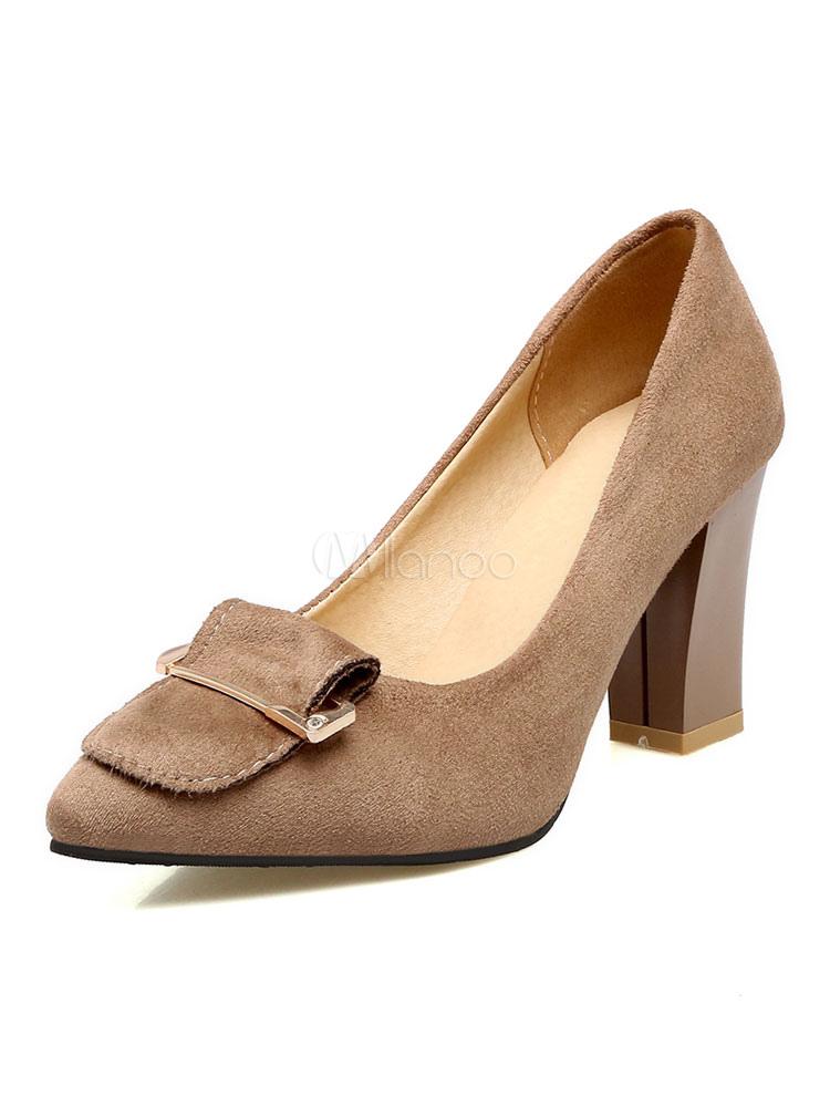 Zapatos de tacón alto de color marrón con punta de gamuza con detalle de metal en las bombas para mujeres 7oKy2oDN