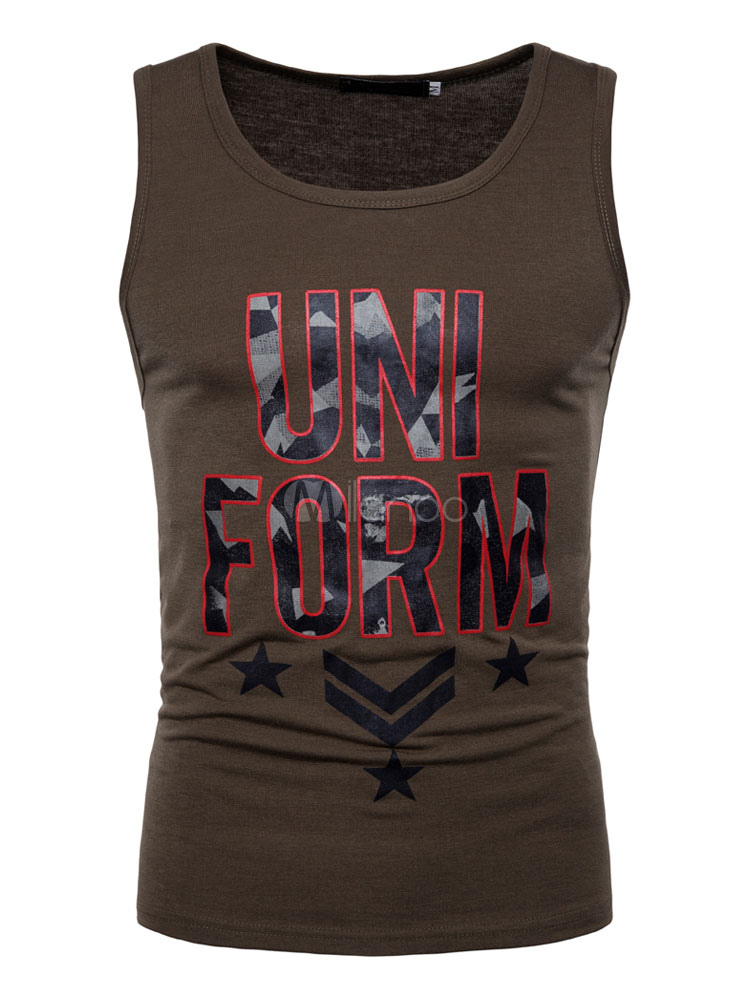 Buy Men Tank Top Letter Print Cotton Sleeveless Top for $16.99 in Milanoo store