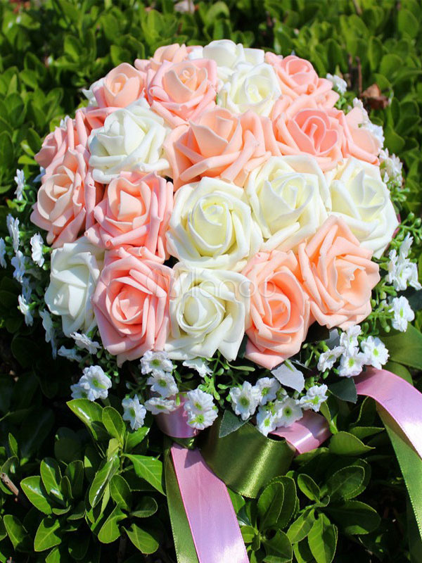 Flowers Wedding Bouquet Champagne 2 Colors Synthetic Bridal Hand Bouquets