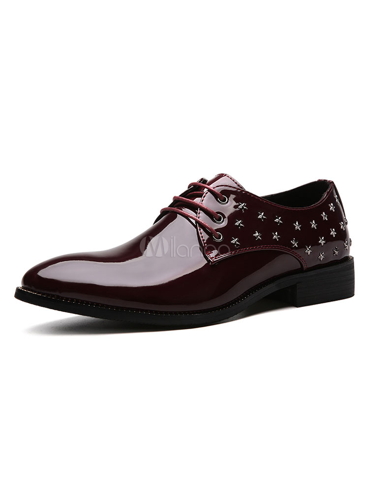 Men Shoes Burgundy Casual Business Shoes Pointed Toe Star Beaded Lace Up Shoes