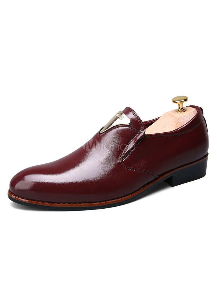 Buy Burgundy Dress Shoes Round Toe Metal Detail Slip On Shoes Casual Business Shoes for $33.99 in Milanoo store