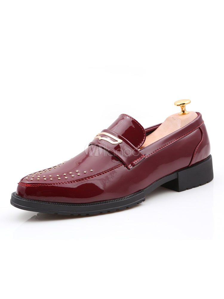 Buy Burgundy Penny Loafers Men Shoes Round Toe Beaded Slip On Shoes for $38.24 in Milanoo store