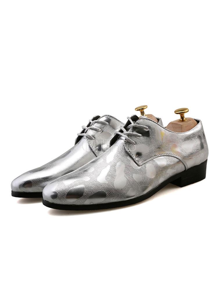 Zapatos de hombre Zapatos de vestir dorados Zapatos de negocios ocasionales brillantes con cordones W91g5ARFv