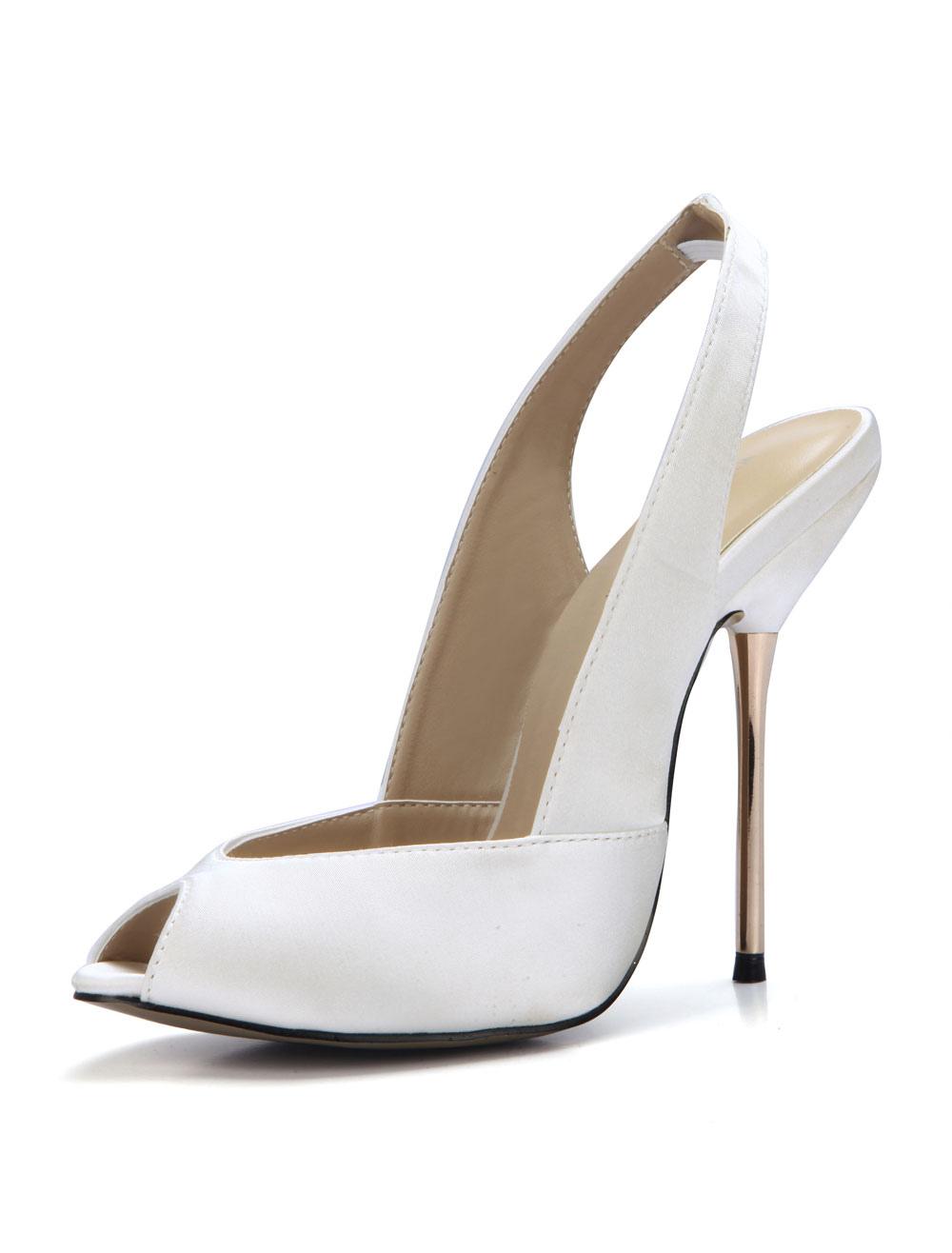 Buy Ivory Evening Shoes Satin Peep Toe Slingbacks High Heels Women Wedding Shoes for $59.49 in Milanoo store