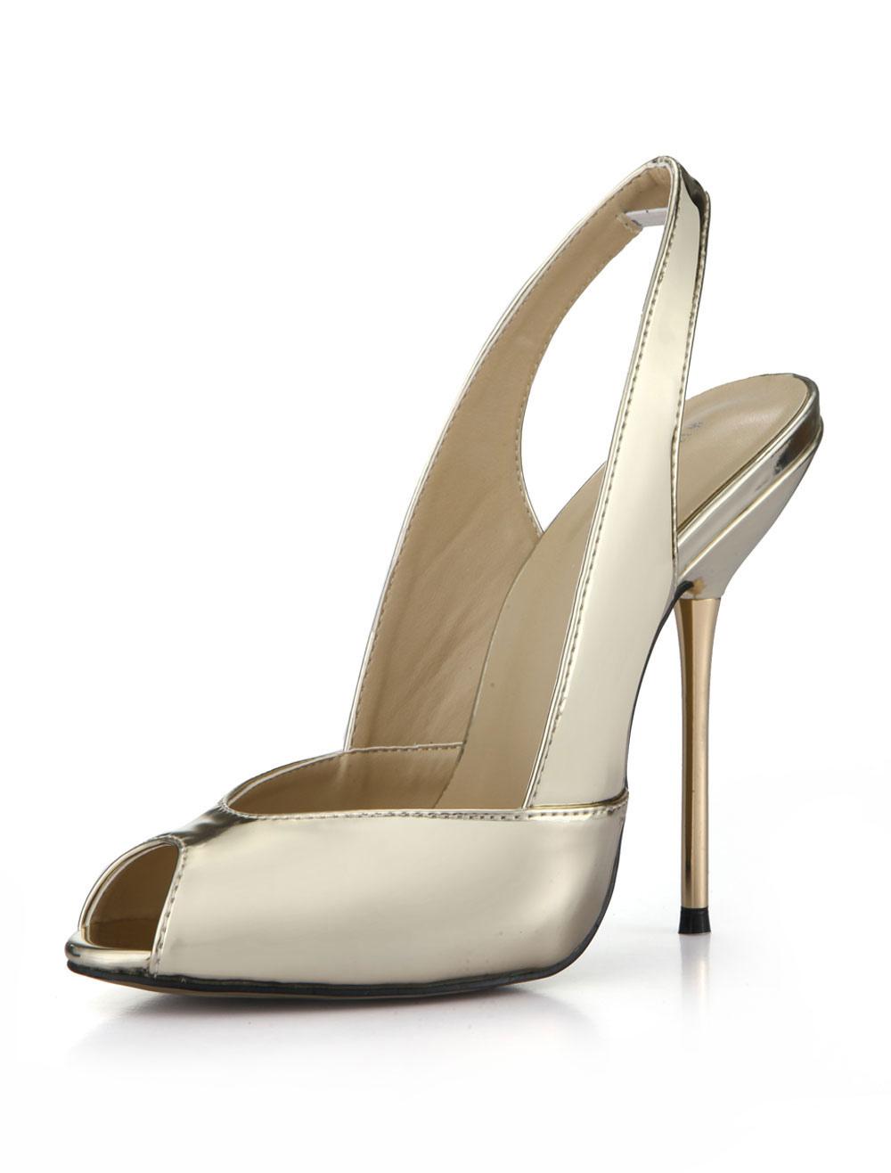 Women High Heels Peep Toe Slip On Slingbacks Gold Pumps