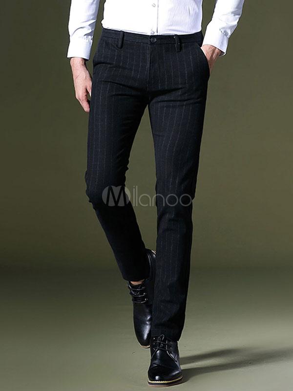 Men Pant Cotton Deep Blue Work Pant Stripe Business Casual Pant