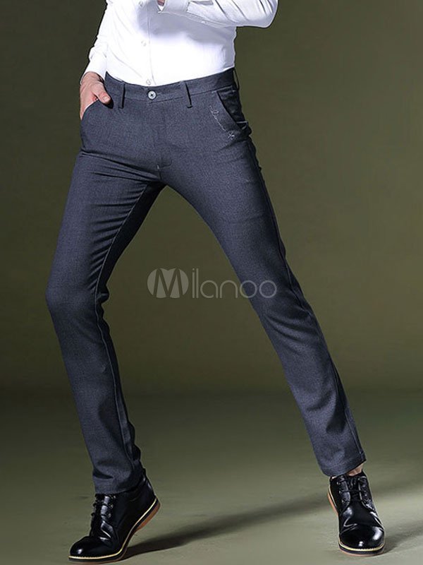Buy Men Cotton Pant Deep Gray Straight Leg Pant for $44.99 in Milanoo store