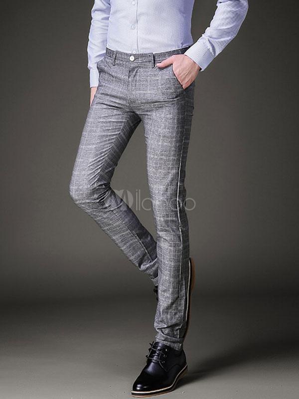 la mejor actitud 7ee30 353e4 Pantalón gris de algodón a cuadros de los hombres Pant Pantalones grises  slim fit Casual