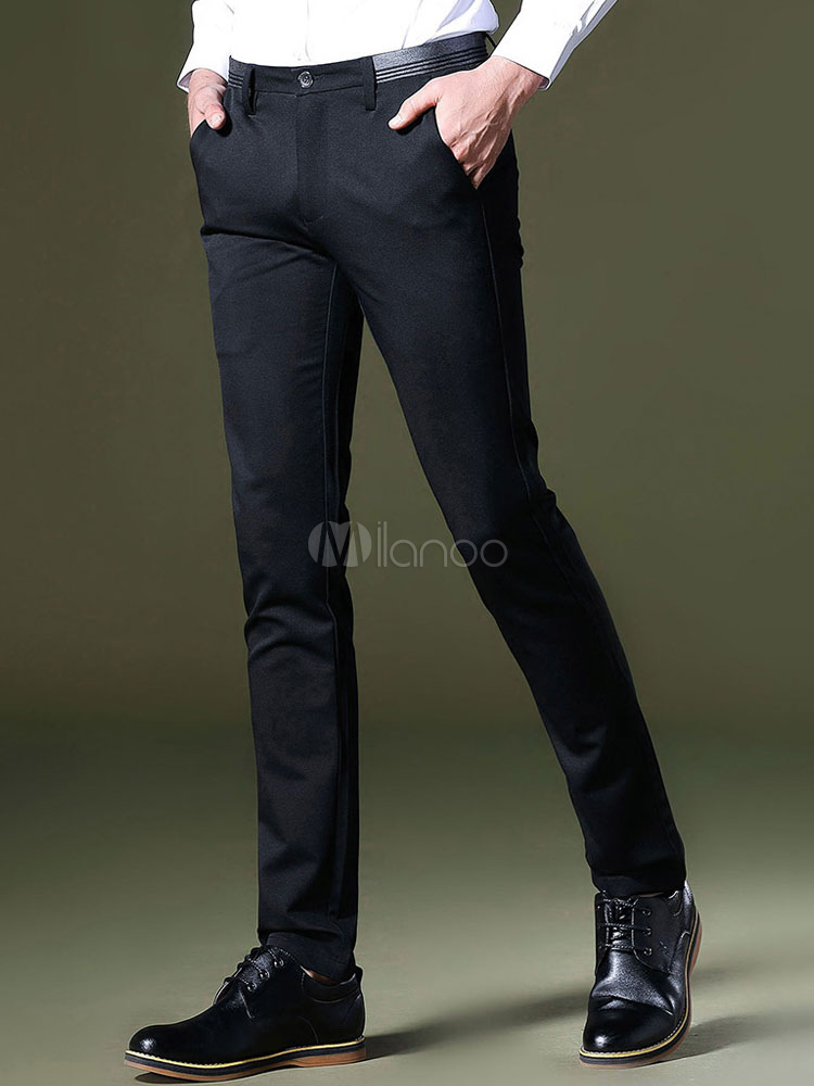Men Pant Casual Slim Fit Elastic Business Black Cotton Pant