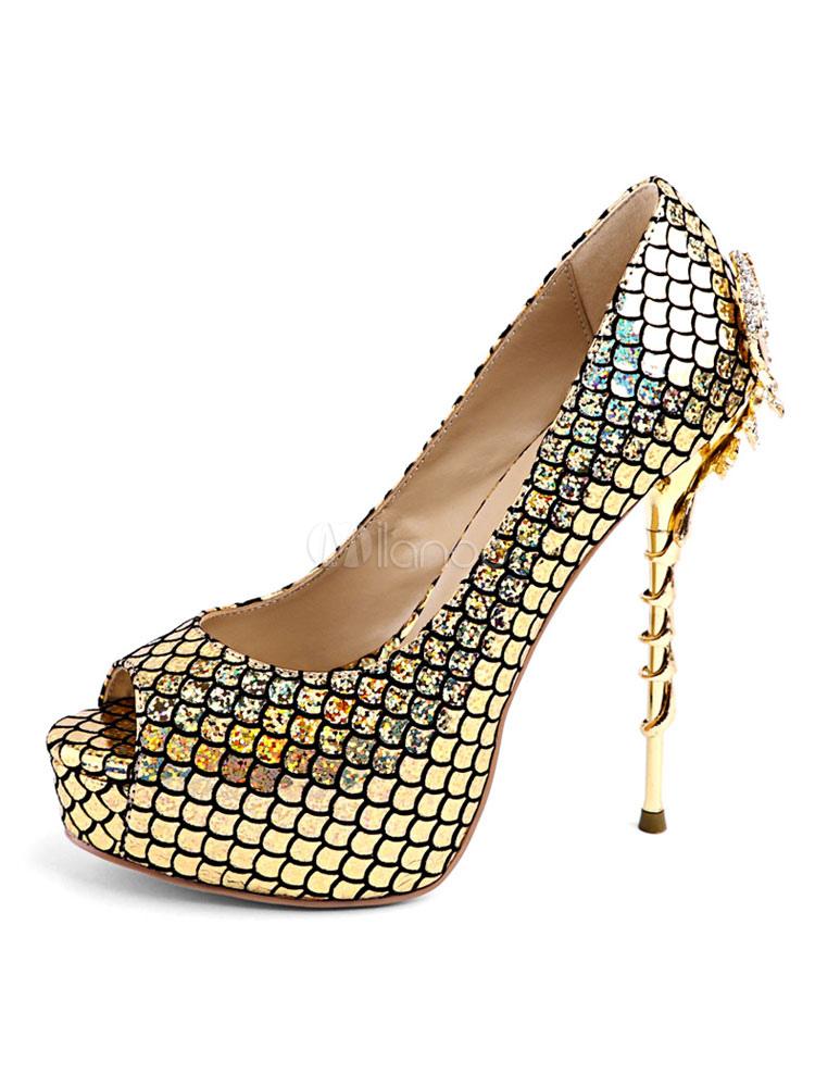 Gold High Heels Peep Toe Leather Animal Print Slip On Platform Women Pumps