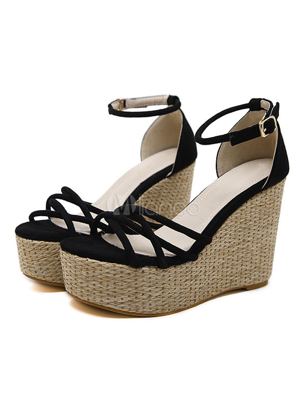 Black Wedge Sandals Open Toe Women Shoes Platform Ankle Strap Suede Sandal