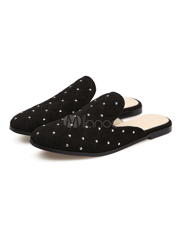 Buy Women Black Mules Studded Round Toe Flat Backless Slip On Mule Loafers for $38.24 in Milanoo store