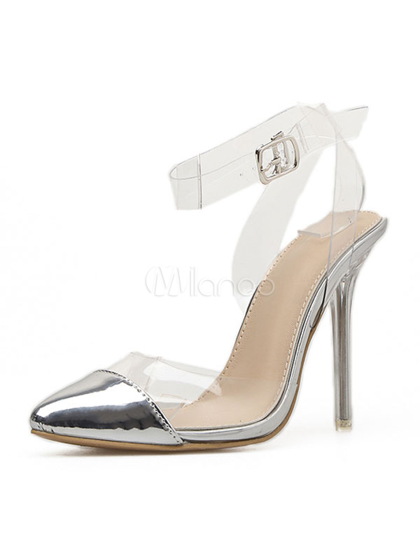 5eb6c56d0bb Silver High Heels Pointed Toe Buckle Detail Stiletto Ankle Strap Clear  Upper Women Pumps-No ...