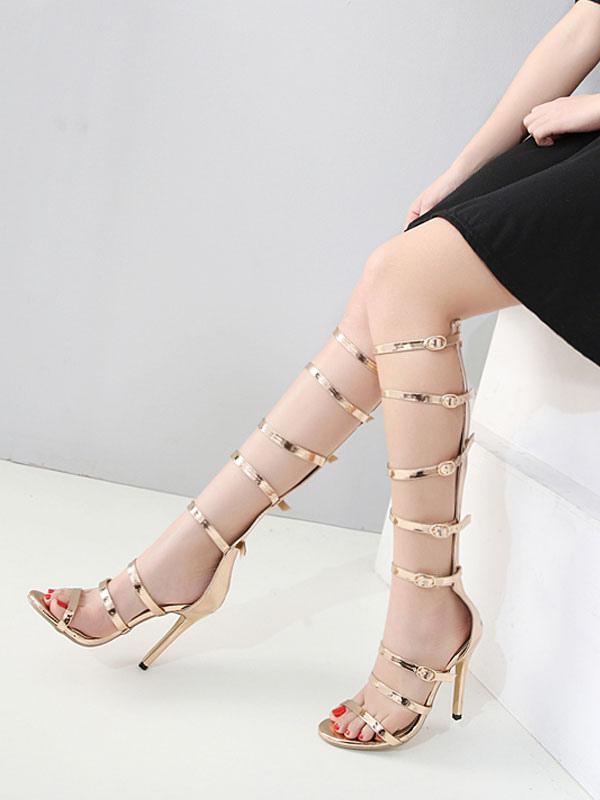 Buy Gold Gladiator Sandals Open Toe Zip High Heel Sandals Women Sandal Shoes for $42.49 in Milanoo store