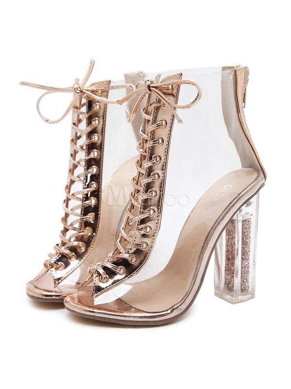 f31207c9ae7 Botines de mujer con cordones sandalias de punta abierta Botines con  cordones transparentes sandalias de tacón ...