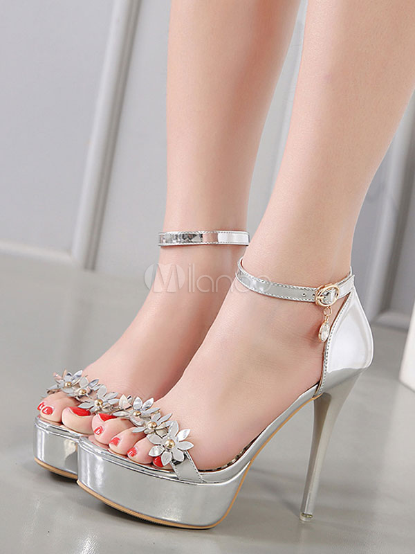 Buy High Heel Sandals Silver Flowers Platform Women Shoes Ankle Strap Open Toe Stiletto Heel Sandal Shoes for $27.99 in Milanoo store