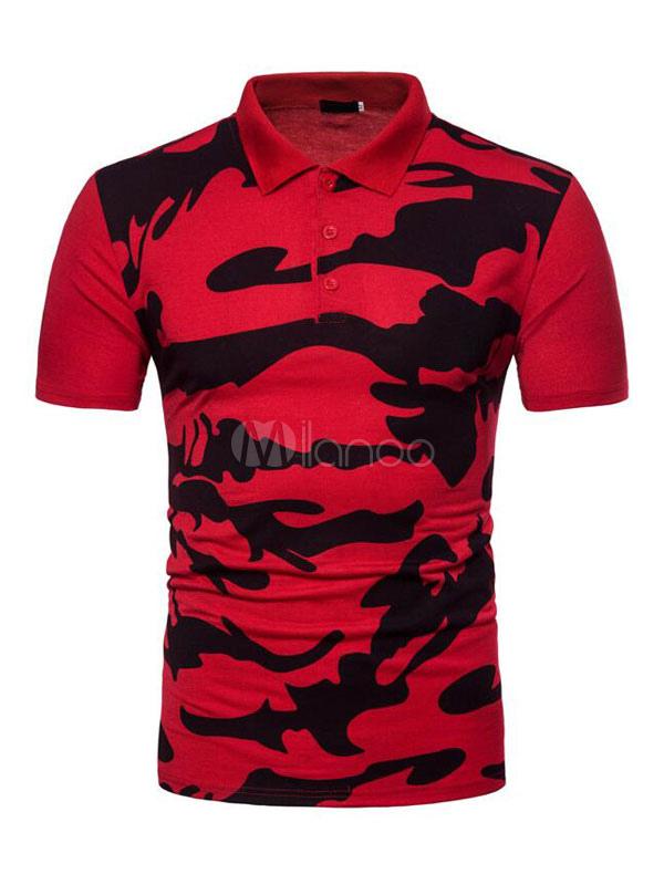 fc1b4f4c7a37d Red Polo Shirt Camo Print Turndown Collar Short Sleeve Men T Shirt-No.1 ...