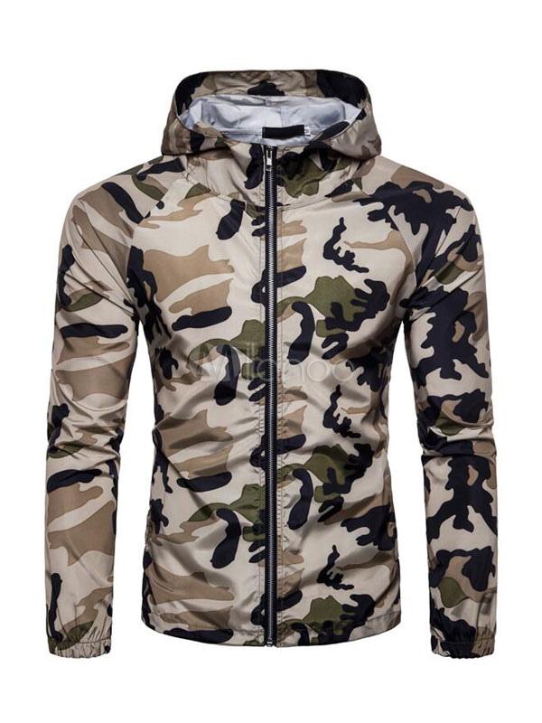 Men Spring Jacket Hooded Long Sleeve Windbreaker Overcoat Camo Print Khaki Jacket