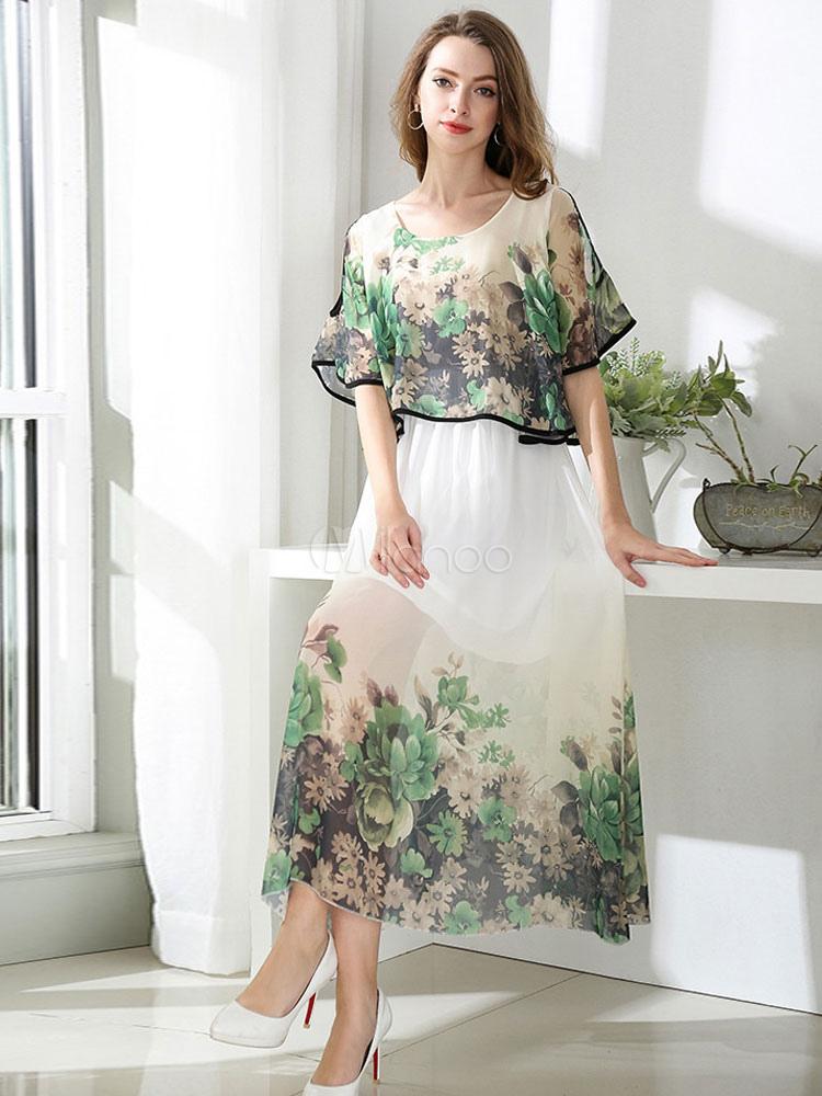 Falda Impresión De Vestido Verano Floral Gasa Dos Media Largo Manga Piezas 401UqT